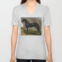 "Théodore Géricault ""L'étalon noir au bord de la mer (The black stallion near the sea)"" Unisex V-Neck"