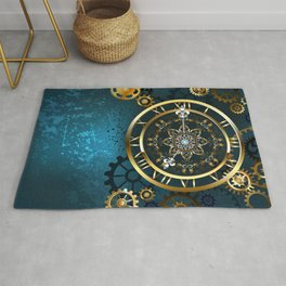 Steampunk Golden Clock on Turquoise Background Rug