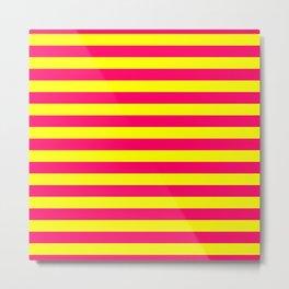 Super Bright Neon Pink and Yellow Horizontal Beach Hut Stripes Metal Print