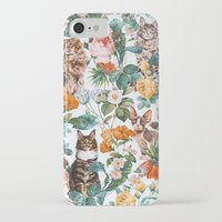 iPhone Cases featuring Cat and Floral Pattern III by Burcu Korkmazyurek