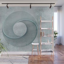 Geometrical Line Art Circle Distressed Teal Wall Mural