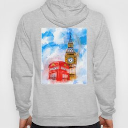 Dreaming of London - Big Ben And a Classic Red Telephone Booth Hoody