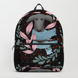 Gray Whippet in Florals Backpack