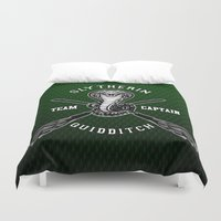 quidditch Duvet Covers featuring Slytherin quidditch team iPhone 4 4s 5 5c, ipod, ipad, pillow case, tshirt and mugs by Three Second