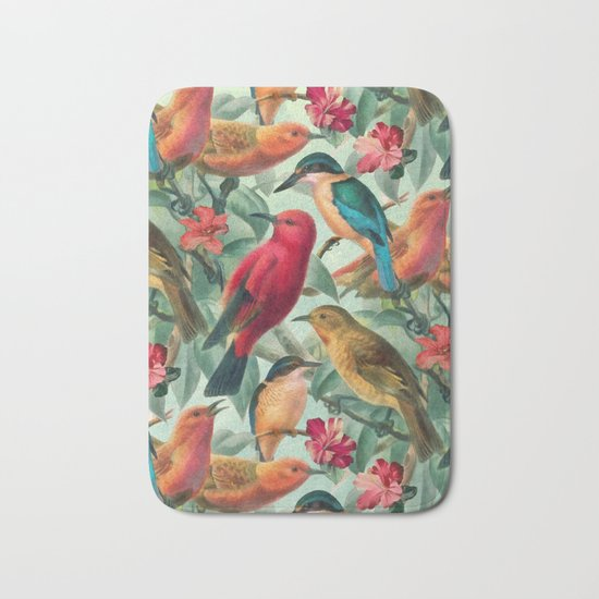 Birds in a summer garden Bath Mat