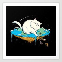 Flat Earth Cat Art Print