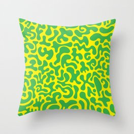 Social Networking Green and Yellow Throw Pillow