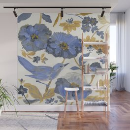 Blue and Yellow Flowers with Bird Wall Mural
