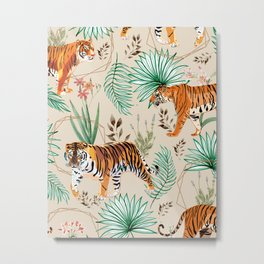 Tropical & Tigers Metal Print