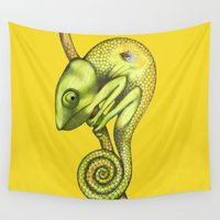 chameleon Wall Tapestries featuring chameleon by Federico Cortese