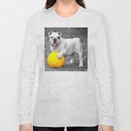 English bulldog white and the yellow ball Long Sleeve T-shirt