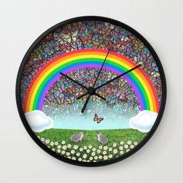 rainbow, butterflies, hedgehogs, & daisies Wall Clock