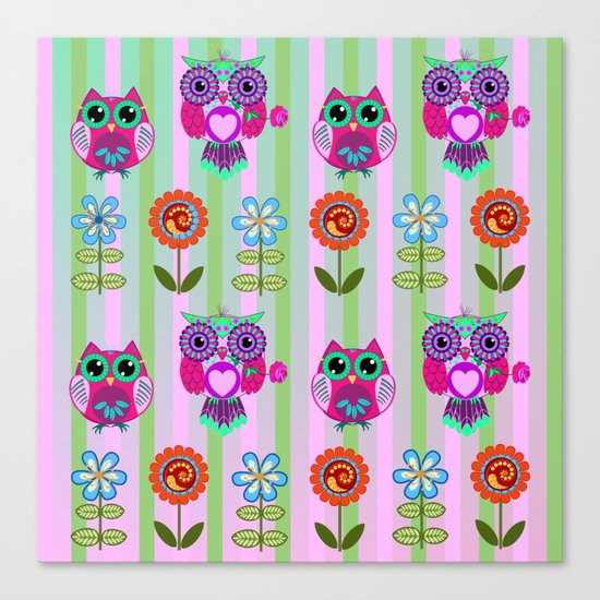 Fantasy summer flowers and owls on a striped background, pattern design Canvas Print