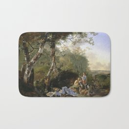 Adam Pynacker - Landscape With Sportsmen And Game 1665 Bath Mat