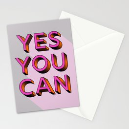 YES YOU CAN - typography Stationery Cards