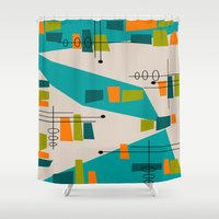 mid century Shower Curtains featuring Mid-Century Modern Abstract by Kippygirl