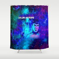 spock Shower Curtains featuring SPOCK by Saundra Myles