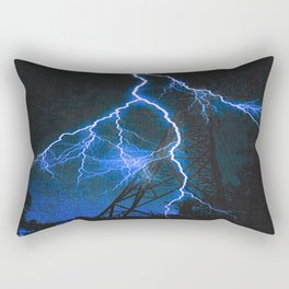 Blue Lightning Rectangular Pillow