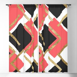 Chic Coral Pink Black and Gold Square Geometric Blackout Curtain