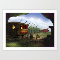 Gypsy Trailer - Digital Painting Signed Art Print