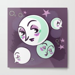 Moon Faces Metal Print