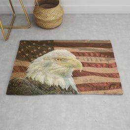 Rustic Bald Eagle on American Flag A213 Rug