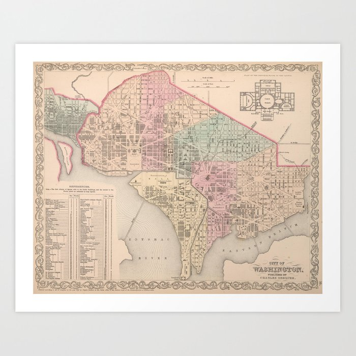 Vintage Map of Washington DC (1857) Kunstdrucke