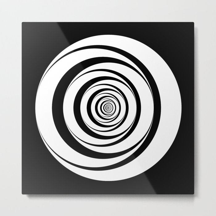 Black White Circles Optical Illusion Metal Print