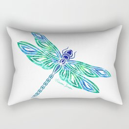 Tribal Dragonfly Blues and Greens Rectangular Pillow