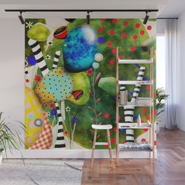 That´s how its got to be - Rupydetequila 2018 - Cactus nopal green and red polka dots Wall Mural