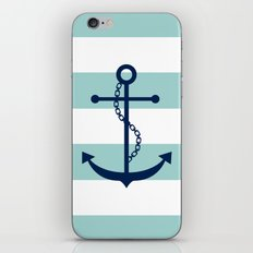Navy Blue and Mint Anchor and Stripes iPhone & iPod Skin