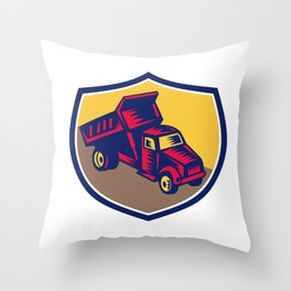 Dump Truck Shield Woodcut Throw Pillow