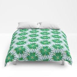 Salvia hispanica, green pattern Comforters