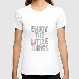 Enjoy the Little Things Watercolor Rainbow Design Inspirational Quote bedroom Wall Art Home Decor T-shirt