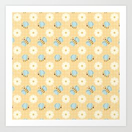 Cute Bees & Daises Pattern with Gingham Background Art Print