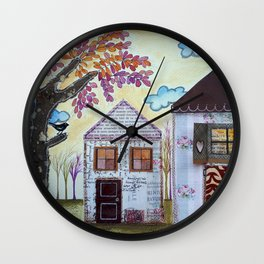 Two pink houses Wall Clock
