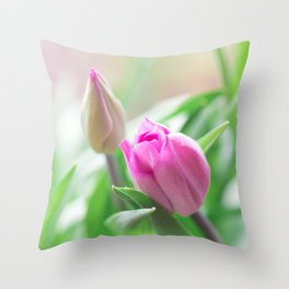 Pink Tulip - Flower Photography Throw Pillow