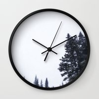 skiing Wall Clocks featuring Skiing Copper by Amelia Vilona