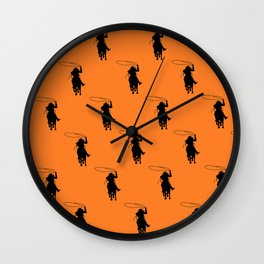 Cowgirl Roper Silhouette Pattern Wall Clock