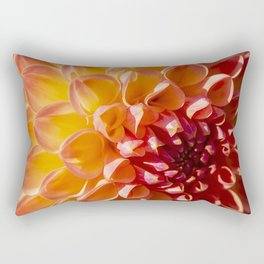 A Fiery colored Dahlia (Asteraceae) shines in the morning sun Rectangular Pillow
