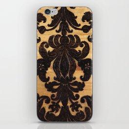 Wood Burnt Damask iPhone Skin
