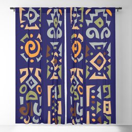 Abstract Colorful African Designs Pattern in Retro Style. Blackout Curtain