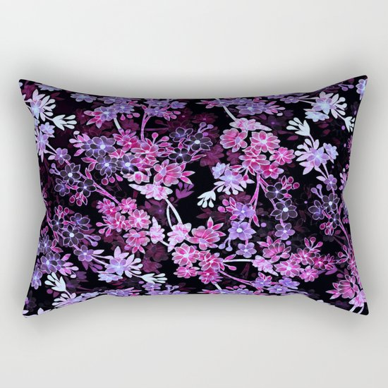 Pink & Purple Floral Pattern Rectangular Pillow