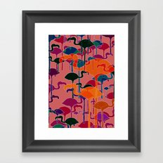 multicoloured flamingos Framed Art Print