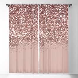 Glam Rose Gold Pink Glitter Gradient Sparkles Blackout Curtain