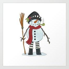 Illustration of Snowman Art Print