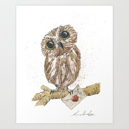 Owl Letter For You Art Print