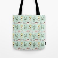 sticker Tote Bags featuring sticker monster pattern 8 by freshinkstain