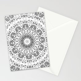 Gray White Floral Mandala Stationery Cards