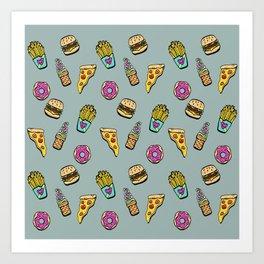 Fast Food Heaven Illustrated Pattern Art Print